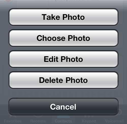 Выберите источник для изображения контакта