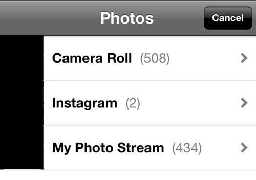 Выберите опцию Camera Roll