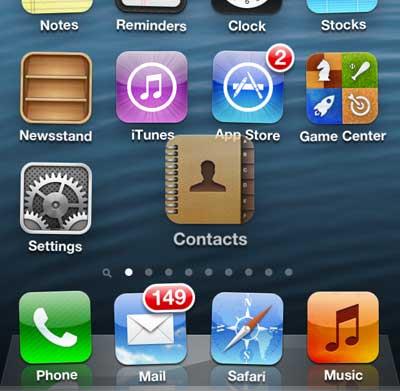 перетащите значок контактов на первый домашний экран