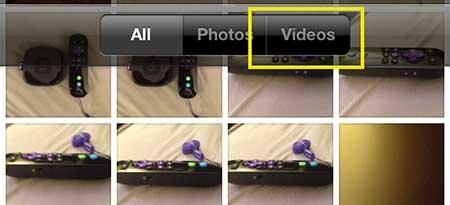 выберите опцию видео в верхней части экрана