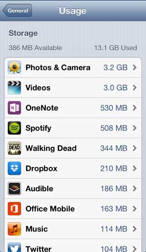 как посмотреть размер приложения на iphone 5
