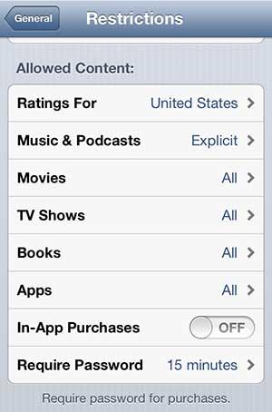 отключить покупки в приложении на iphone 5