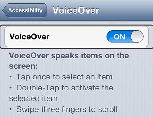 Отключить настройку VoiceOver