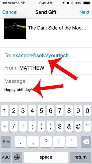 введите адрес электронной почты получателя и сообщение