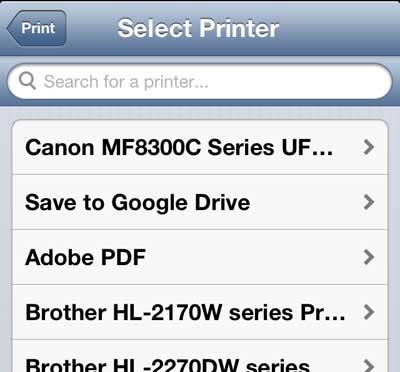 выберите принтер для облачной печати