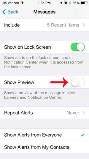 как перестать показывать превью текстовых сообщений на экране блокировки iphone