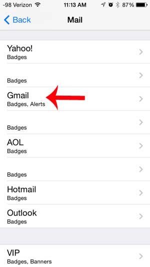 выберите опцию Gmail