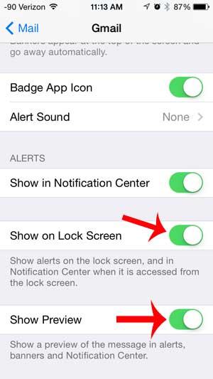 включите экран блокировки и покажите параметры предварительного просмотра