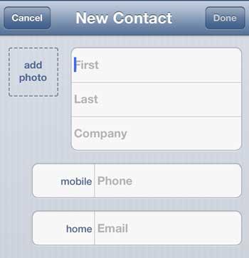 введите информацию для нового контакта