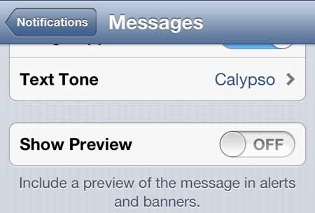 как перестать показывать превью текстовых сообщений на iphone 5