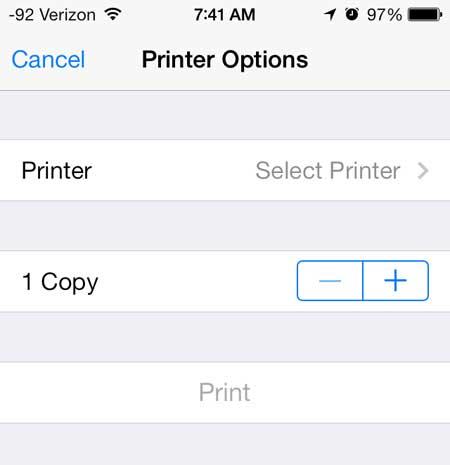 коснитесь кнопки принтера