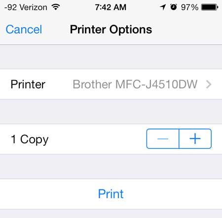 как распечатать брату mfc-j4510dw с iphone