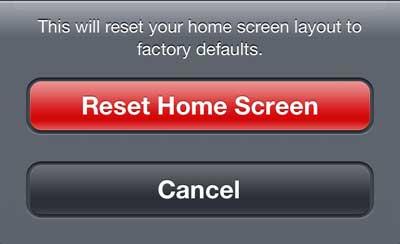 как сбросить домашний экран на iphone 5