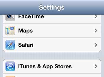 откройте меню сафари на iphone 5