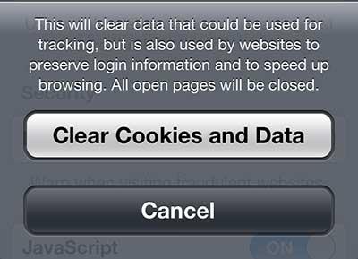 снова нажмите кнопку очистки файлов cookie и данных