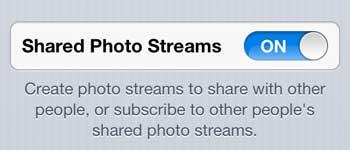 включить общие потоки фотографий на iphone 5