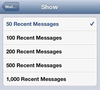 показать больше почтовых сообщений на iphone 5