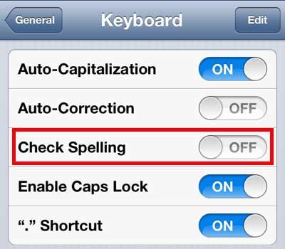 как отключить проверку орфографии на iphone 5