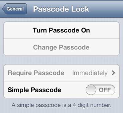 включить пароль