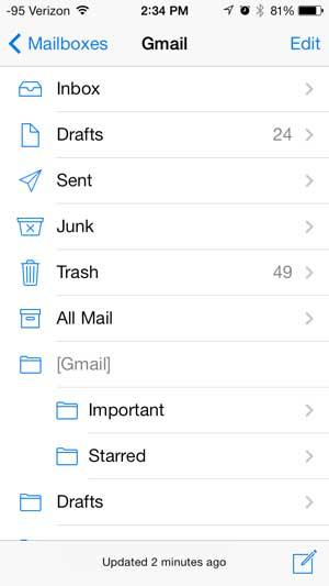 структура учетной записи электронной почты на iPhone