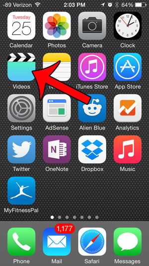 откройте приложение видео