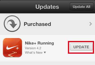нажмите кнопку обновления справа от приложения