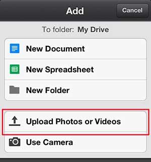 выберите опцию загрузки фотографий или видео