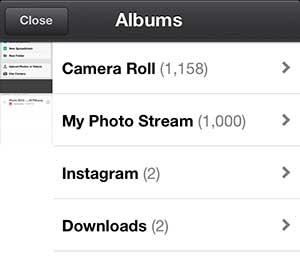 выберите альбом, содержащий фотографии для загрузки