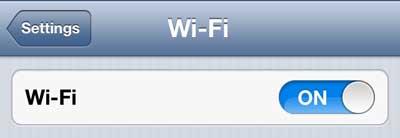 убедитесь, что слайдер Wi-Fi установлен на