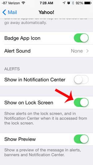 Как показать Yahoo Mail оповещения на экране блокировки на iPhone 5