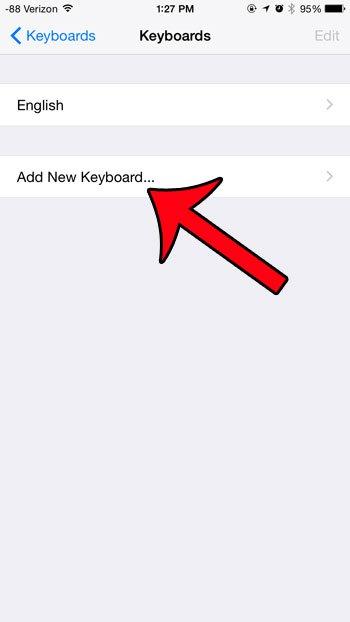 нажмите кнопку добавления новой клавиатуры