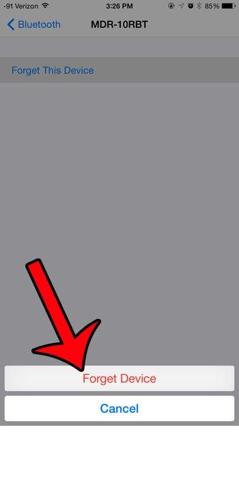 подтвердить удаление устройства Bluetooth