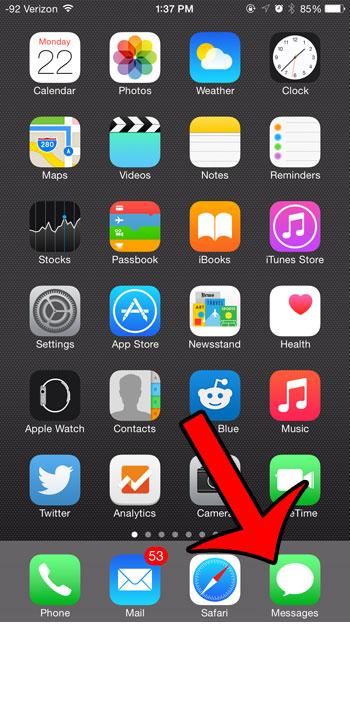 откройте приложение сообщений