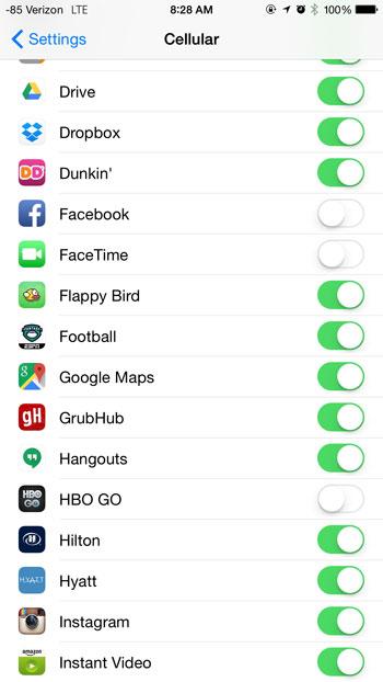 проверьте приложение, которое отключило сотовые данные