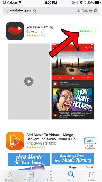 установить игровое приложение YouTube