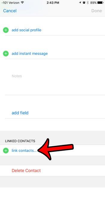как связать контакты на iphone 6