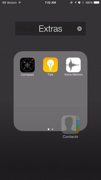 перетащите приложение из папки и поместите на главный экран
