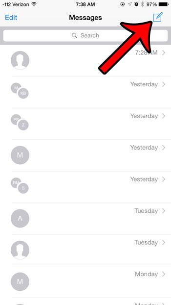 нажмите кнопку создания нового сообщения
