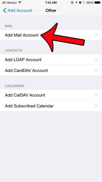 нажмите кнопку добавления учетной записи почты