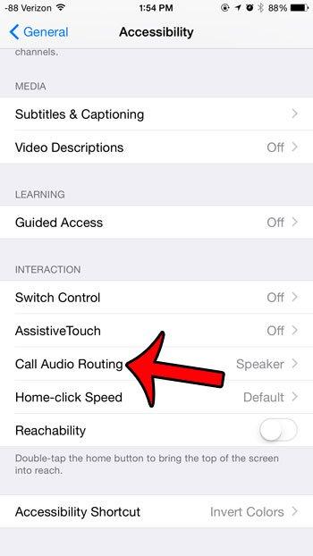 выберите опцию маршрутизации аудио звонка