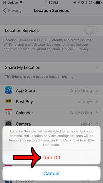 отключить службы определения местоположения на iphone 6
