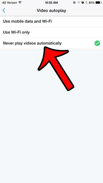 выберите опцию никогда не воспроизводить видео автоматически