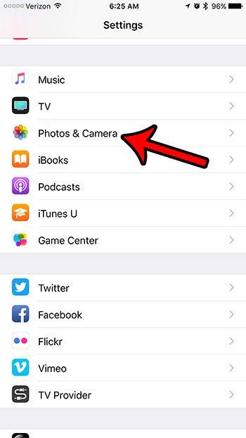 открыть настройки фотографий iphone