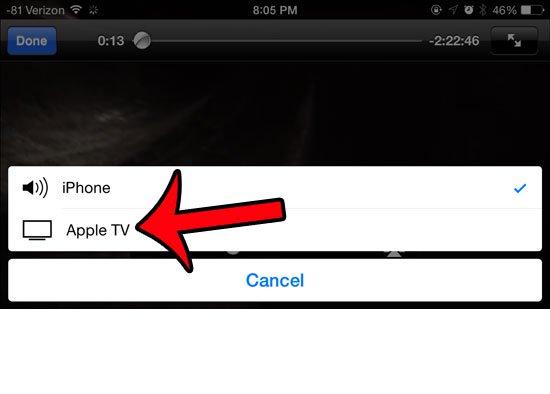 выберите опцию Apple TV