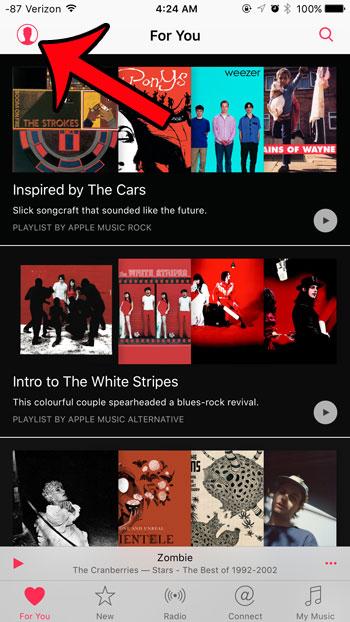 откройте меню учетной записи Apple Music