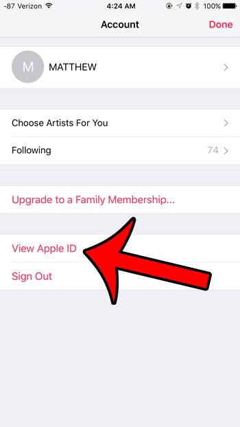 нажмите кнопку просмотра Apple ID