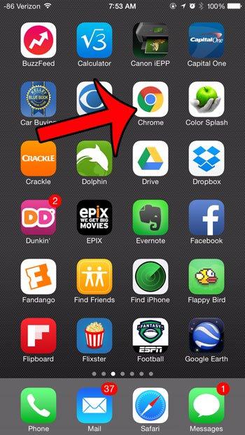 откройте браузер Chrome