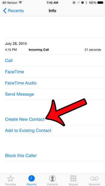 выберите опцию создания нового контакта
