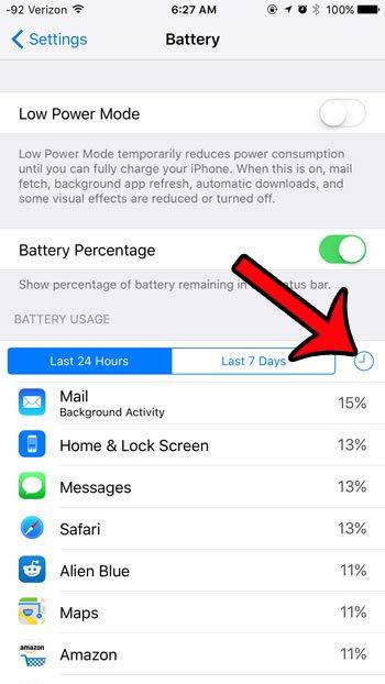 нажмите на часы в разделе использования батареи