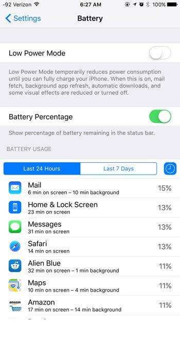 просмотреть информацию об использовании батареи